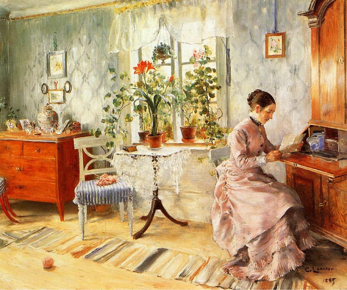 Carl Larsson - Interno con donna che legge