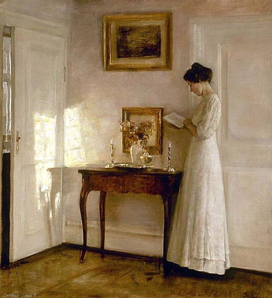 Carl Vilhelm Holsoe - Woman Reading In An Interior