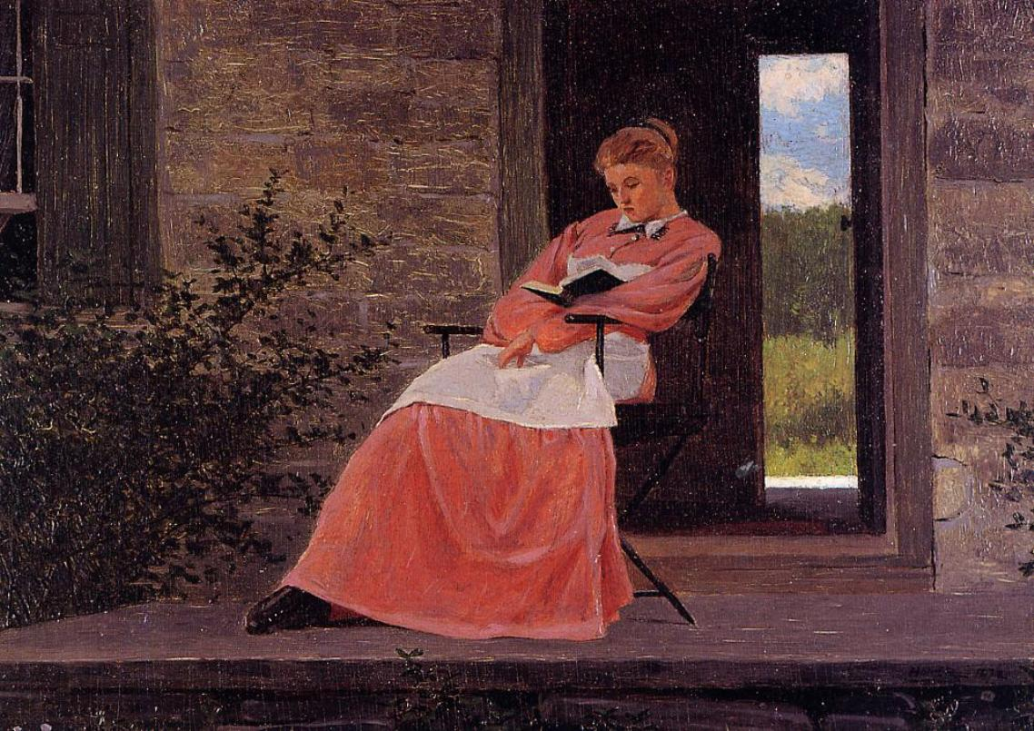 Homer Winsolow - Girl reading on a stone porch